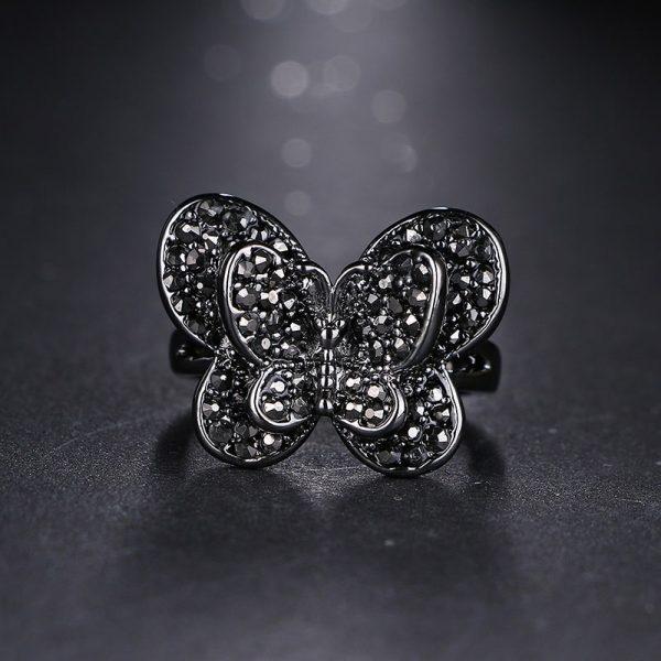 Bague papillon noir à ailes