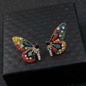 Boucle d'oreille aile papillon multicolore