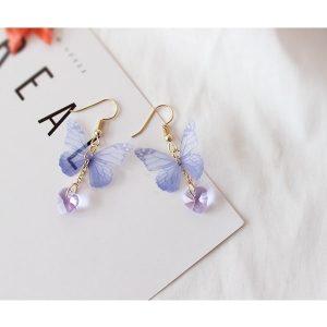 Boucle d'oreille papillon bleu