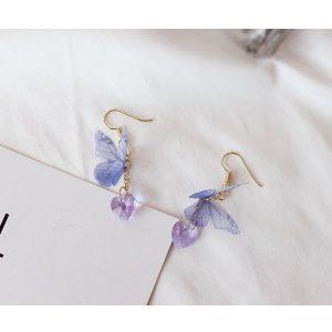 Boucle d'oreille papillon de couleur bleu