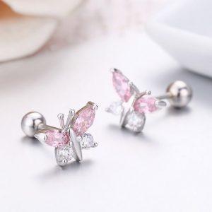 Boucle d'oreille papillon fille à vis