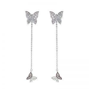 Boucle d'oreille pendante papillon argent authentique