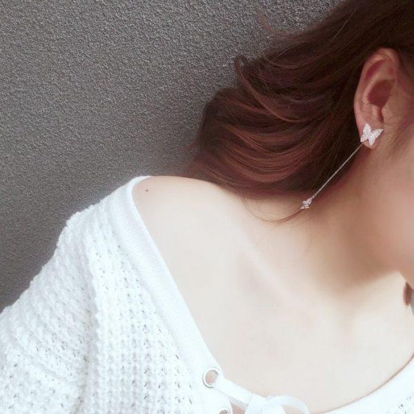 Boucle d'oreille pendante papillon argent féminin