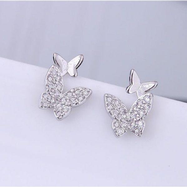 Boucles d'oreilles papillon avec zirconium