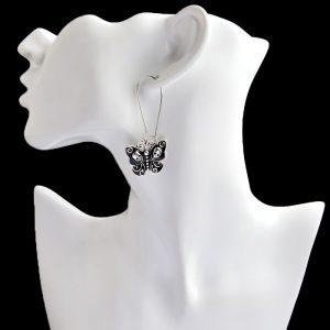 Boucles d'oreilles papillon noire de style original