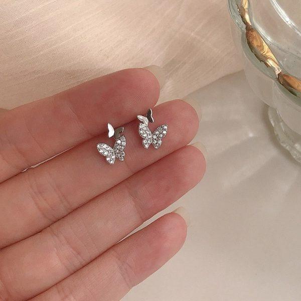 Boucles d'oreilles papillon zirconium