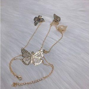 Bracelet chaine papillon doré