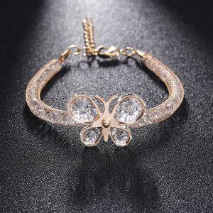 Bracelet femme avec papillon à ailes arrondies