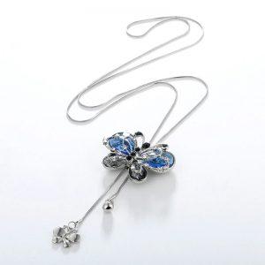Collier papillon bleu avec chaine