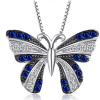 Pendentif papillon bleu argent 3