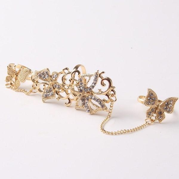 anneaux à chaine et papillon