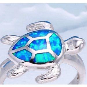 Bague à thème animal, tortue bleue