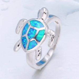 Bague tortue bleue