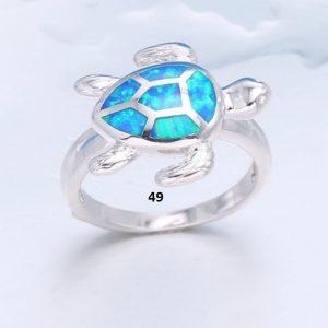 Bague tortue bleue 49