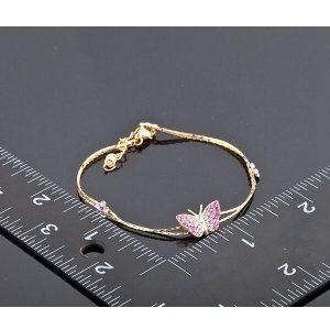 Bracelet avec papillon rose couleur or