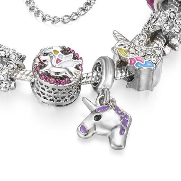 Bracelet breloque licorne violet pour femme