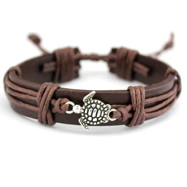 Bracelet cuir avec tortue