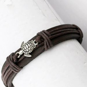 Bracelet cuir avec tortue pour femme et homme