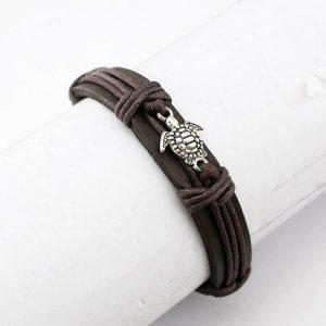 Bracelet cuir avec tortue pour homme et femme