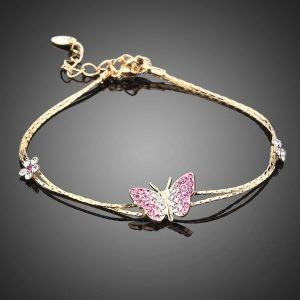 Bracelet papillon rose couleur or