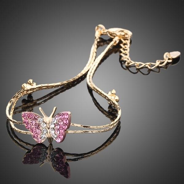 Bracelet papillon rose doré