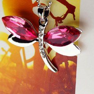 Pendentif libellule rouge pour femme
