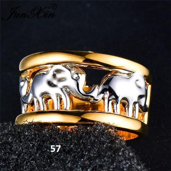 Bague avec éléphants argentés et bague dorée 54