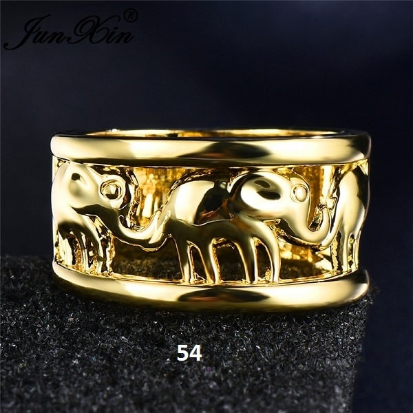 Bague avec éléphants doré 54