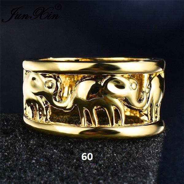 Bague avec éléphants doré 60