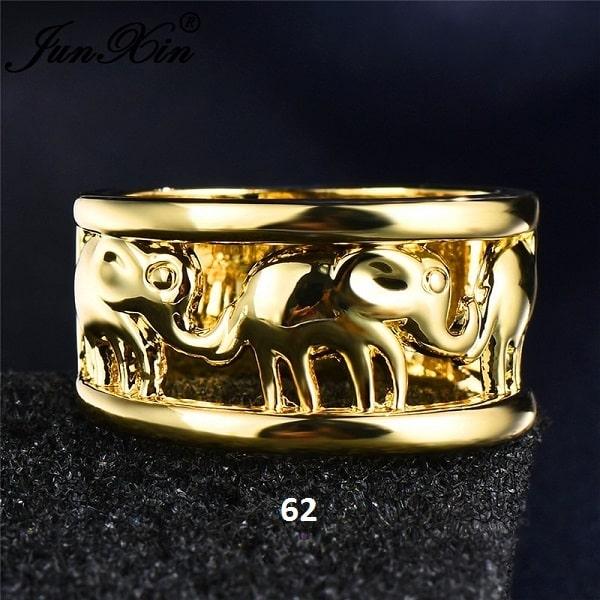 Bague avec éléphants doré 62