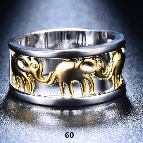 Bague avec éléphants dorés et bague argentée 60
