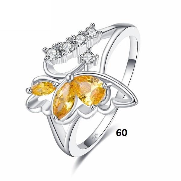 Bague en forme de papillon jaune 60