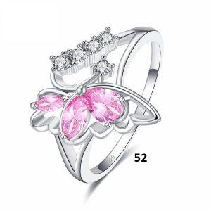 Bague en forme de papillon rose 52