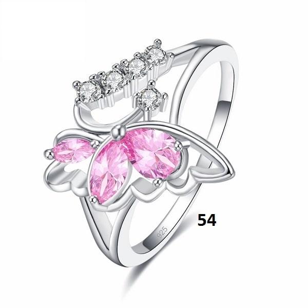 Bague en forme de papillon rose 54