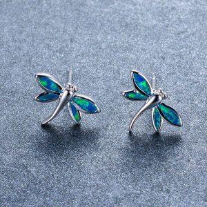 Boucle d'oreille animal, libellule bleu