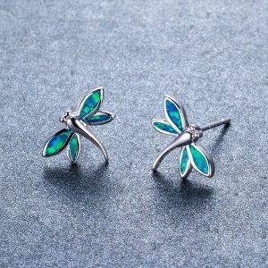 Boucle d'oreille libellule bleu