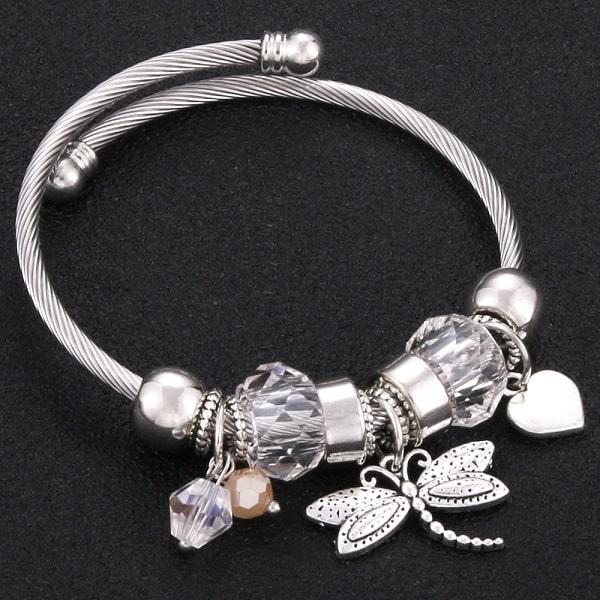 Bracelet avec libellule blanc