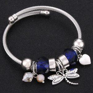 Bracelet avec libellule bleu