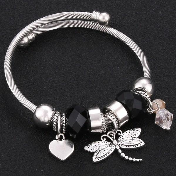Bracelet avec libellule noir