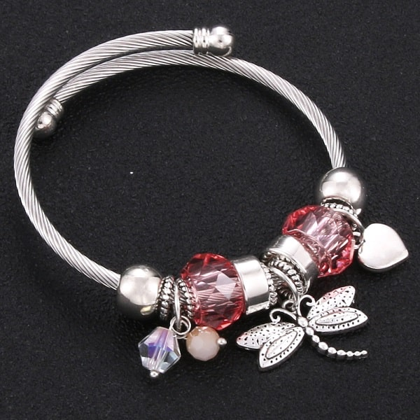 Bracelet avec libellule rose