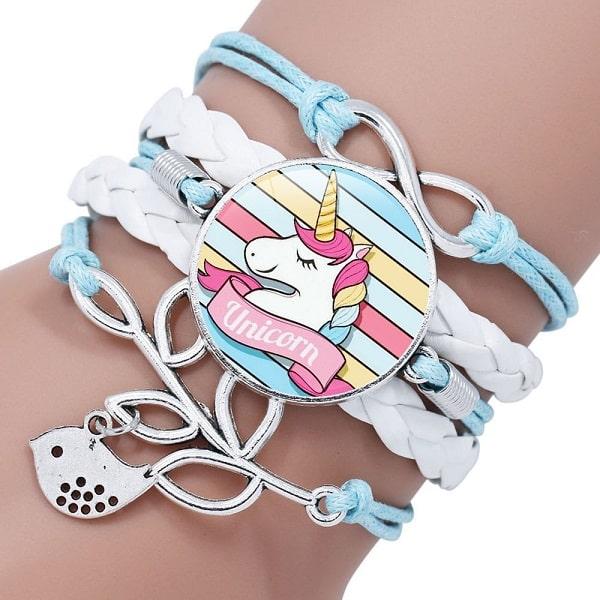Bracelet licorne fille blanc et bleu