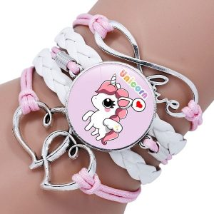 Bracelet licorne fille blanc et rose