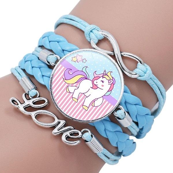Bracelet licorne fille bleu