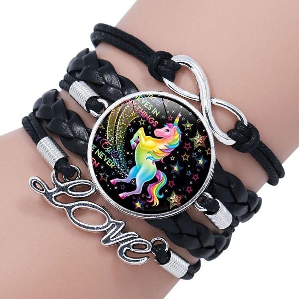 Bracelet licorne fille noir