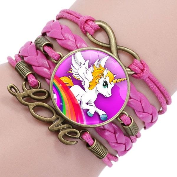 Bracelet licorne fille rose