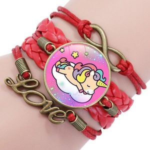 Bracelet licorne fille rouge