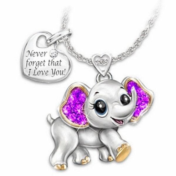 Collier éléphant fille violet
