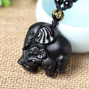 Collier éléphant obsidienne