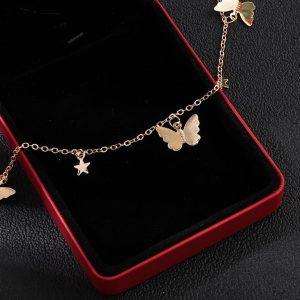 Collier femme papillons et étoiles