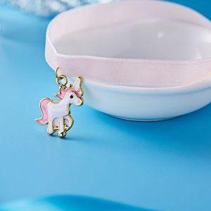 Collier ras de cou licorne enfant rose